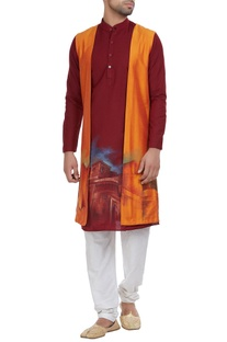 Printed kurta with shrug