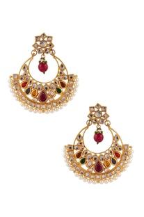 Kundan & pearl beaded earrings