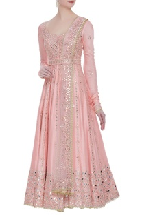 Mirror work flared anarkali set with embroidered belt and dupatta