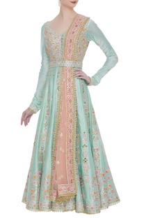 Chanderi silk anarkali set with embroidered belt and dupatta