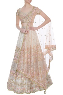 Floral embroidered lehenga set with peach dupatta