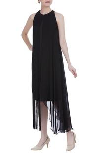 Drape midi dress with fringe detail