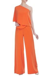 Peplum style flared jumpsuit