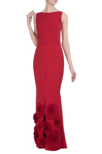 Flower motif long gown with back bow