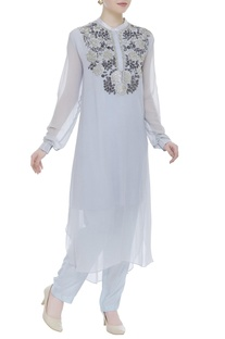 Sequin embroidered kurta with churidar