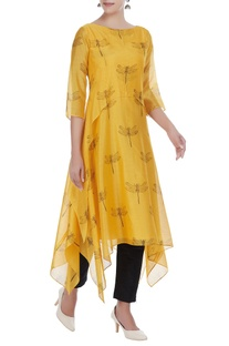 Chanderi asymmetric tunic with dragonfly motif embroidery