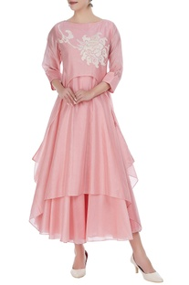 Chanderi embroidered tunic with anarkali
