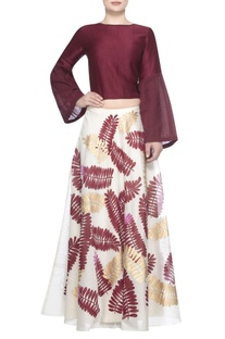 Satin-linen blouse with printed lehenga