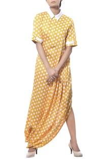 Drape long dress with polka dots