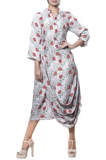 Printed tunic with cowl pleated drape