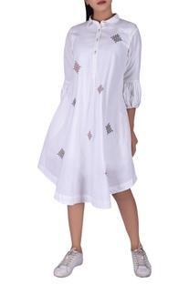 Tribal embroidered shirt dress