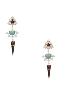 Dangler earrings with handcrafted 3D design