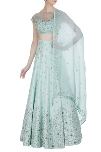 Off shoulder blouse with embroidered lehenga and dupatta