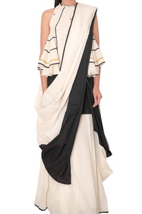 Half stitched block printed sari