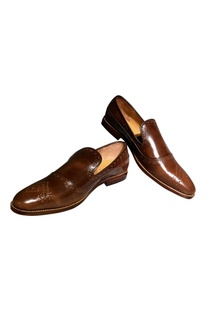 Handcrafted pure leather brogue loafers