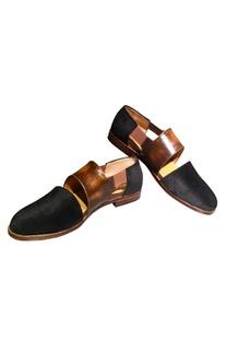Leather & velvet sandals