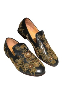 Zari & sequin pure leather handcrafted loafers