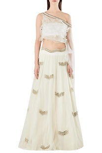 One-shoulder ruffle cape-blouse with lehenga