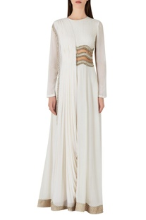 Draped style jumpsuit with sheer waist
