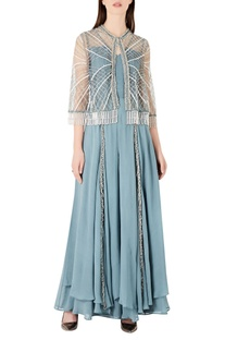 Layered georgette jumpsuit with tassel cape