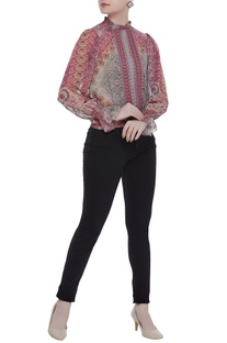 Chiffon floral-paisley printed high neck blouse