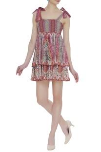 Printed short layered dress