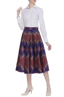 Velvet box pleated printed midi skirt
