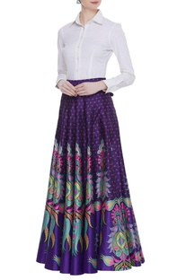 Dupion silk printed maxi skirt