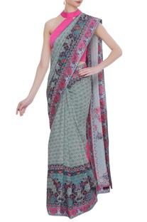 Floral printed crepe silk sari