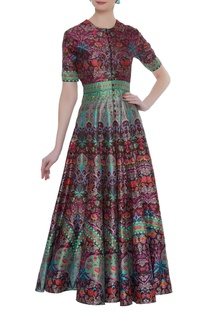 Printed gown with loop button placket