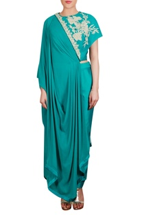 Drape embroidered tunic with trouser pants