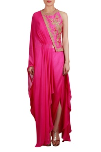 Flared drape tunic with embroidery and pants
