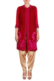 Embroidered shirt tunic with dhoti pants