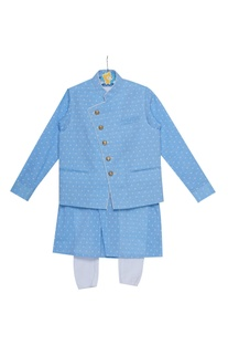 Threadwork kurta with waistcoat and churidar
