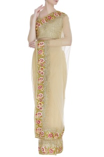 Net embroidered sari with blouse