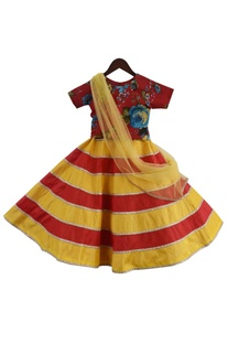 Printed blouse with stripe detail lehenga & dupatta