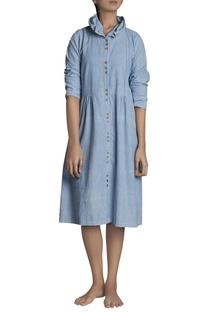 Button down midi hand-woven khadi dress