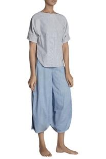 Flared panel style hand-woven khadi pants