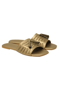Leatherette matte finish slip-on sandals