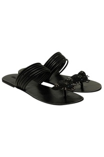 Bug motif embellished flat sandals