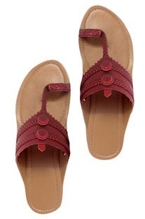 Premium leather kolhapuri wedges