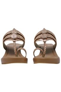 Leather kolhapuri strap wedges