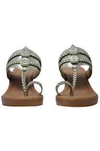 Metallic kolhapuri strap wedges