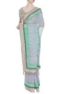 Threadwork embroidered sari with stitched blouse