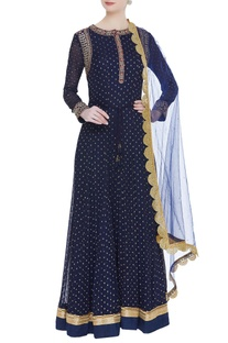 Embroidered kurta with churidar and dupatta features zardozi embroidery on the kurta