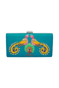 Silk embroidered turquoise clutch