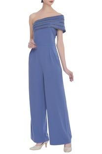 Scuba georgette bead embroidered jumpsuit