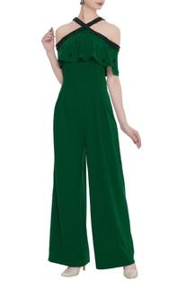 Sequin embroidered cold-shoulder jumpsuit