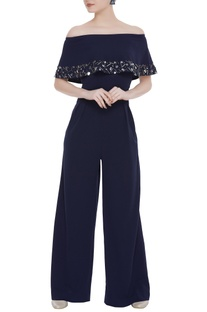 Scuba georgette sequin embroidered jumpsuit