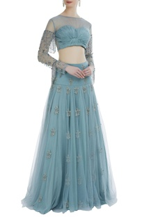 Ice blue hand embroidered blouse with net lehenga